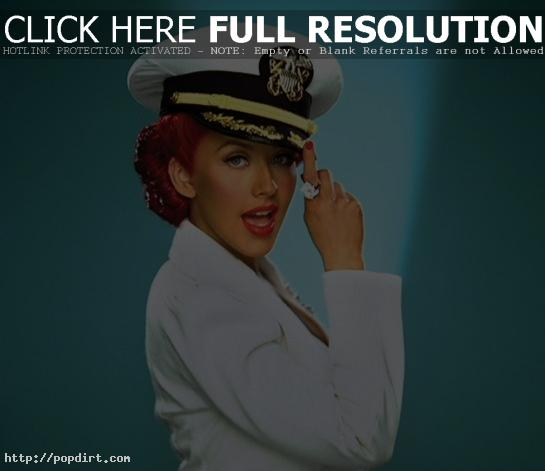 Christina Aguilera in a sailor hat